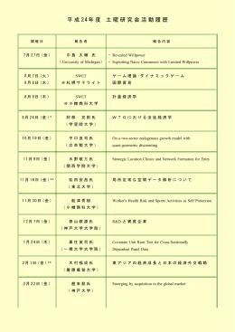 平成 24年度 土曜研究会活動履歴