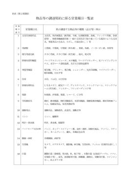 物品等の調達契約に係る営業種目一覧表