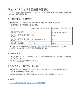 Maple 17 における互換性の注意点