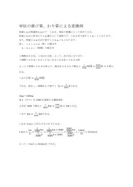 単位の掛け算、わり算による変換例