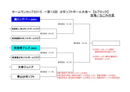 ホームランカップ2015 ~第12回 少年ソフトボール大会~ 【Aブロック