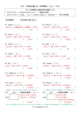 <単位の直し方 中学理科> No. 1