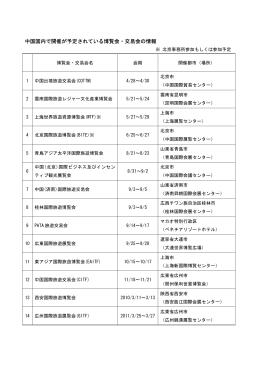 中国国内で開催が予定されている博覧会・交易会の情報