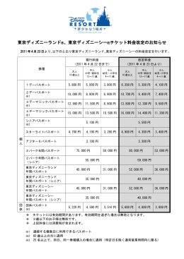 東京ディズニーランド  、東京ディズニーシー  チケット料金改定のお知らせ