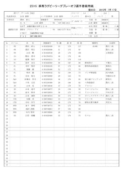 2015 群馬ラグビーリーグプレーオフ選手登録用紙