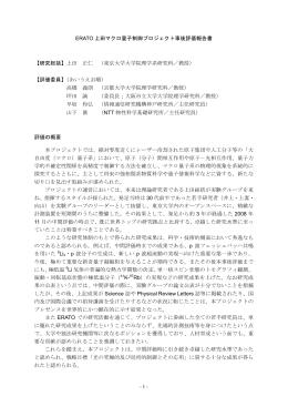 - 1 - ERATO 上田マクロ量子制御プロジェクト事後評価報告書 【研究総括