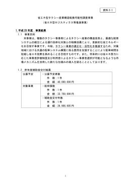 省エネ型タクシー産業構造転換可能性調査事業