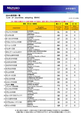 IBAN採用国一覧(PDF/66KB)