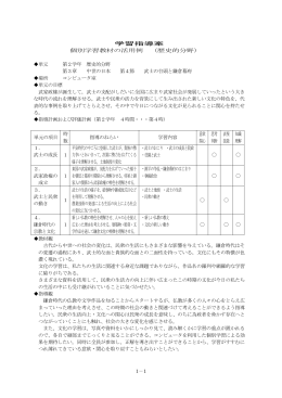 1-1 学習指導案 個別学習教材の活用例 (歴史的分野) 単元 第2学年