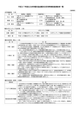 平成27年度北九州市観光協会観光功労者等表彰披表彰者一覧