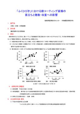 「ふくひびき」における鉄コーティング直播の 苗立ちと穂数・収量