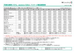 可視化経営システム Japanese Edition パッケージ製品価格表
