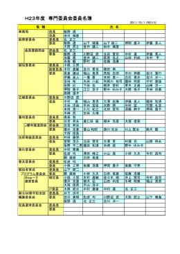 H23年度 専門委員会委員名簿