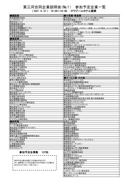 東三河合同企業説明会(№1) 参加予定企業一覧