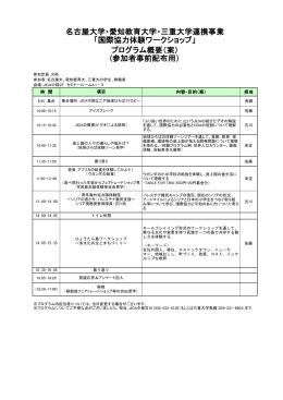 プログラム概要 - 名古屋大学国際教育交流センター