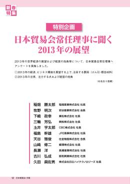 日本貿易会常任理事に聞く 2013年の展望