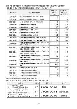 資料 特定器材の電算コード (太文字は平成26年4月の薬価改訂で価格