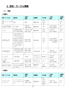 2 団体・サークル情報