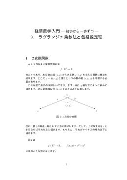 9. ラグランジュ乗数法と包絡線定理
