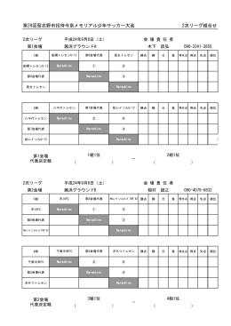 第29回習志野市招待今泉メモリアル少年サッカー大会 2次リーグ組合せ
