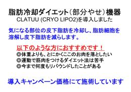 脂肪冷却ダイエット CLATUU(CRYO LIPO2)