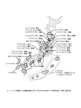 「カシアズキ」暗赤 「シダレアズキ」黒斑 「シロアズキ」黄白+薄茶