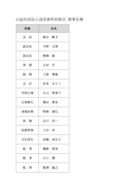 公益社団法人浅草歯科医師会 理事名簿
