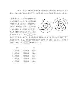 図は,高気圧と低気圧の等圧線と地表付近の風の向きを示したもので