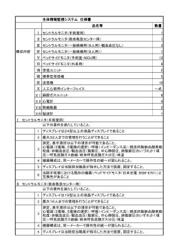 生体情報監視システム 仕様書 品名等 数量 Ⅰ セントラルモニタ(手術室