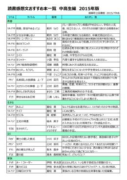 読書感想文おすすめ本一覧 中高生編 2015年版