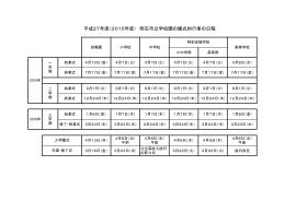 平成27年度(2015年度) 明石市立学校園の儀式的行事の日程