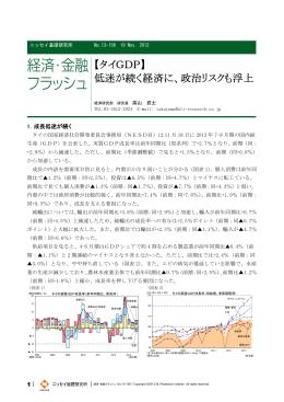 【タイGDP】 低迷が続く経済に、政治リスクも浮上
