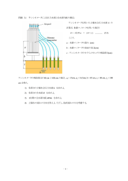 -1 - 問題 3.1 「テンシオメータによる圧力水頭と全水頭勾配の測定
