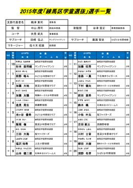 2015年度「練馬区学童選抜」選手一覧