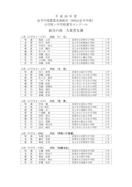 平成26年度NOSAI岩手中部 小学校・中学校書写コンクール入賞者名簿