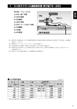 1 GX形ダクタイル鋳鉄異形管 呼び径75∼250