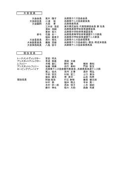 大 会 役 員 大会会長 高木 陽子 大会副会長 小浦 猛 大会顧問 大西 孝