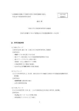 森田 靖 安定な有機ラジカルの蓄電および光電変換材料への応用 §1