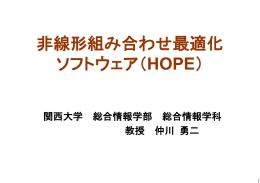 非線形組み合わせ最適化 ソフトウェア(HOPE)