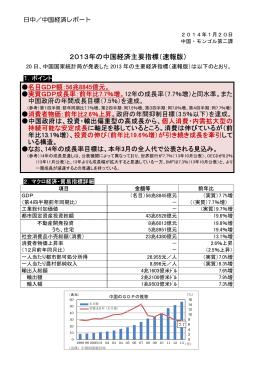 2013年1~9月期の中国経済主要指標(平成26年1月)