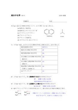 (a)~(f)の分子間相互作用について