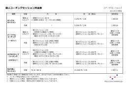 個人コーチングセッション料金表
