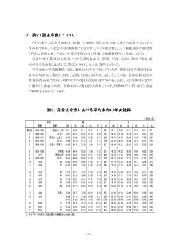 3. 第21回生命表について 表2 完全生命表における平均余命の年次推移