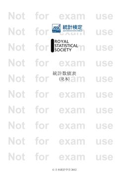 RSS/JSS試験 統計数値表(見本,日本語版)