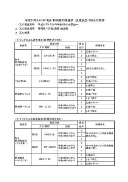 平成25年6月16日執行静岡県知事選挙 政見放送日時及び順序