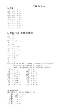 日语数词表达方法1:个数一个: 一つひとつ两个: 二つふたつ三个: 三つ