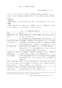 最近の「音」問題に関する誤解* 中野有朋(中野環境クリニック