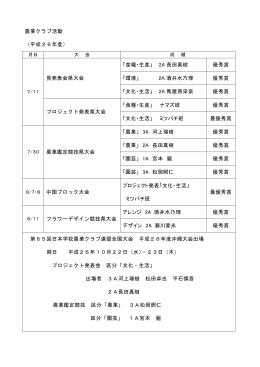 農業クラブ活動 (平成26年度) 見発表会県大会 「食糧・生産」 2A 長田