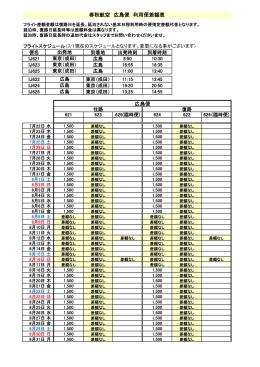 春秋航空 広島便 利用便差額表 広島便