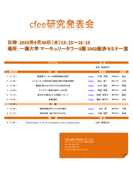 - プログラム - 司 会 本田 敏雄先生 No. 開始時間 発 表 発表者 討論者 1